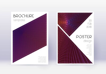 Triangle cover design template set. Violet abstract lines on dark background. Immaculate cover design. Enchanting catalog, poster, book template etc.