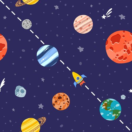Space pattern with planets and stars. Bright childish tile. Cute design for kids fabric and wrapping paper. Rocket space travel. Hand drawn funny space pattern. 向量圖像