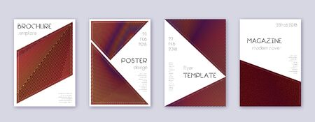 Triangle brochure design template set. Orange abstract lines on wine-red background. Breathtaking brochure design. Delightful catalog, poster, book template etc.