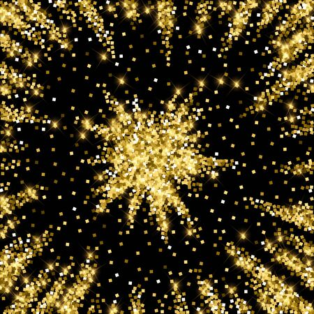 Sparkling gold luxury sparkling confetti. Scattered small gold particles on black background. Admirable festive overlay template. Unequaled vector illustration. Ilustração