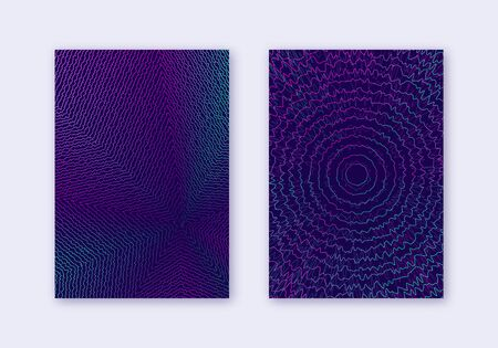 Cover design template set. Abstract lines modern brochure layout. Neon vibrant halftone gradients on dark blue background. Stunning brochure, catalog, poster, book etc. Çizim