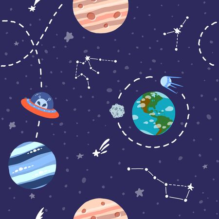 Galaxy seamless pattern design. Alien spaceship travel. Cute design for kids fabric and wrapping paper. Bright childish tile. Hand drawn funny galaxy seamless.