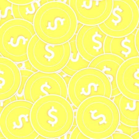American dollar gold coins seamless pattern. Extraordinary scattered yellow USD coins. Success concept. USA money pattern. Coin vector illustration.