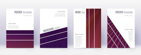 Geometric brochure design template set. Violet abstract lines on dark background. Amazing brochure design. Delightful catalog, poster, book template etc. Иллюстрация