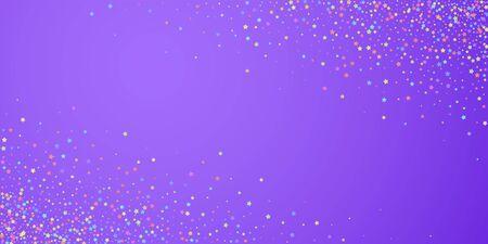 Festive confetti. Celebration stars. Colorful stars dense on bright purple background. Creative festive overlay template. Juicy vector illustration.