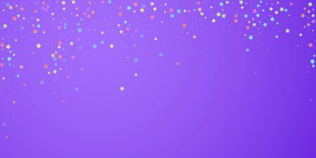 Festive confetti. Celebration stars. Colorful stars random on bright purple background. Delightful festive overlay template. Astonishing vector illustration.