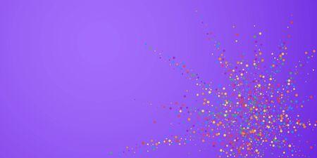 Festive confetti. Celebration stars. Rainbow confetti on bright purple background. Curious festive overlay template. Pleasant vector illustration.
