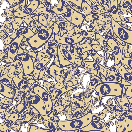 Chinese yuan notes falling. Messy CNY bills on white background. China money. Elegant vector illustration. Awesome jackpot, wealth or success concept.