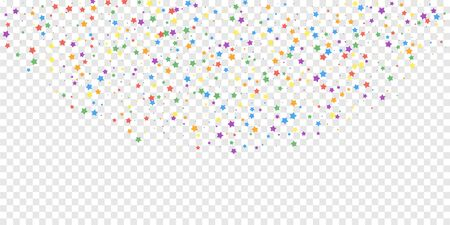Festive confetti. Celebration stars. Joyous stars on transparent background. Ecstatic festive overlay template. Fascinating vector illustration.