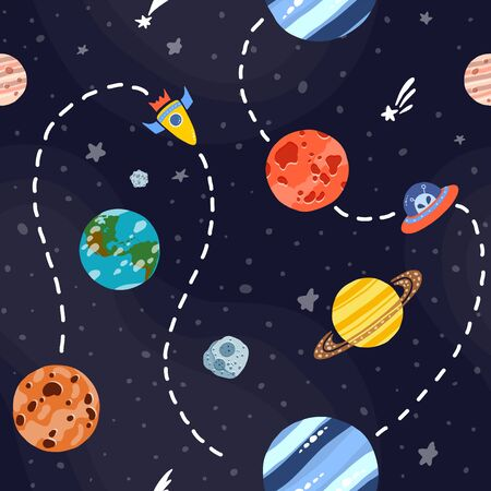 Cosmic fabric for kids. Bright childish tile. Cute design for kids fabric and wrapping paper. Space exploration concept. Hand drawn funny cosmic fabric.