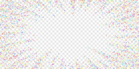 Festive confetti. Celebration stars. Colorful stars dense on transparent background. Ecstatic festive overlay template. Trending vector illustration.