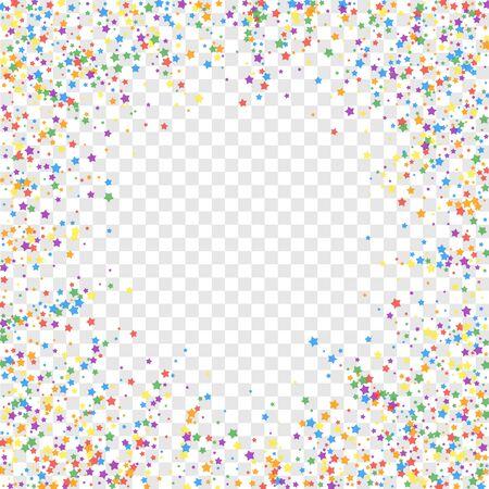 Festive confetti. Celebration stars. Rainbow bright stars on transparent background. Cool festive overlay template. Beautiful vector illustration.