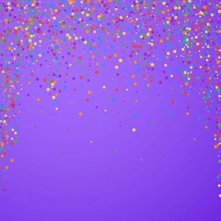Festive confetti. Celebration stars. Rainbow confetti on bright purple background. Captivating festive overlay template. Memorable vector illustration. Stok Fotoğraf - 149355776