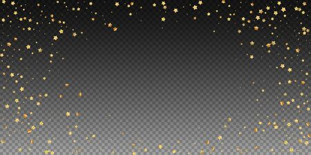 Gold stars random luxury sparkling confetti. Scattered small gold particles on transparent background. Charming festive overlay template. Ideal vector illustration. Illusztráció