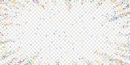 Festive confetti. Celebration stars. Rainbow confetti on transparent background. Ecstatic festive overlay template. Radiant vector illustration. Vector Illustration