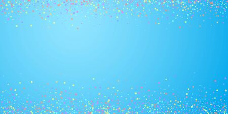Festive confetti. Celebration stars. Colorful stars on blue sky background. Cool festive overlay template. Sublime vector illustration.