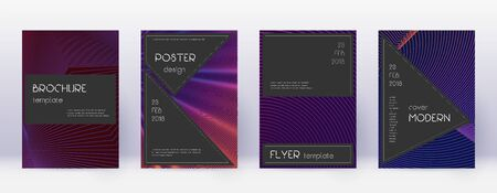 Black brochure design template set. Violet abstract lines on dark background. Admirable brochure design. Overwhelming catalog, poster, book template etc.