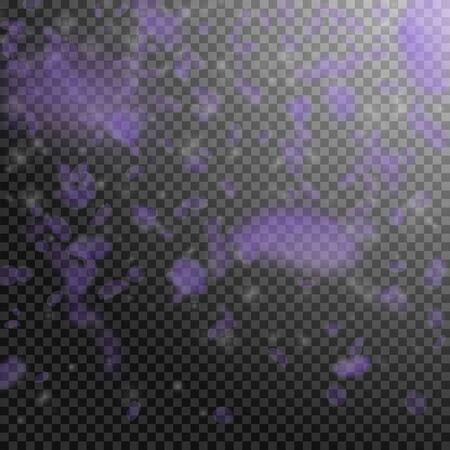 Violet flower petals falling down. Alive romantic flowers gradient. Flying petal on transparent square background. Love, romance concept. Classic wedding invitation. Vectores