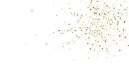 Gold stars random luxury sparkling confetti. Scattered small gold particles on white background. Attractive festive overlay template. Favorable vector illustration. Vettoriali