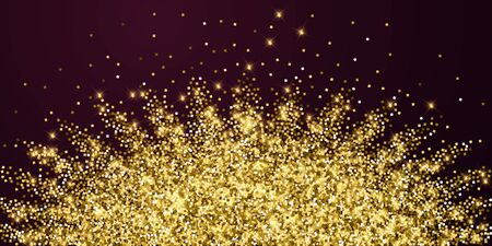Sparkling gold luxury sparkling confetti. Scattered small gold particles on red maroon background. Alive festive overlay template. Emotional vector illustration.