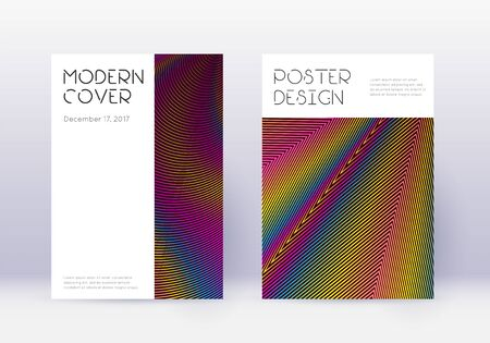 Minimal cover design template set. Rainbow abstract lines on wine red background. Decent cover design. Dramatic catalog, poster, book template etc.