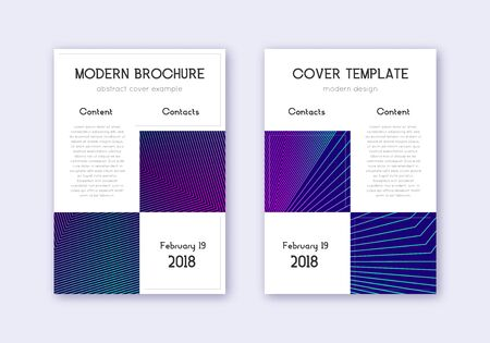 Business cover design template set. Neon abstract lines on dark blue background. Artistic cover design. Bizarre catalog, poster, book template etc.