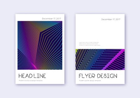 Minimal cover design template set. Rainbow abstract lines on dark blue background. Divine cover design. Classy catalog, poster, book template etc.