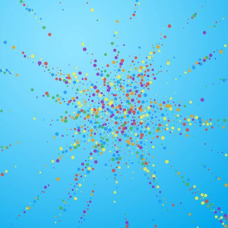 Festive confetti. Celebration stars. Rainbow confetti on blue sky background. Captivating festive overlay template. Eminent vector illustration.