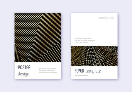 Minimalistic cover design template set. Gold abstract lines on black background. Dramatic cover design. Posh catalog, poster, book template etc.