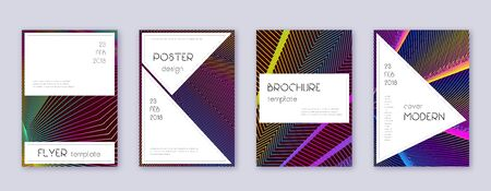 Stylish brochure design template set. Rainbow abstract lines on wine red background. Bewitching brochure design. Amusing catalog, poster, book template etc. Çizim