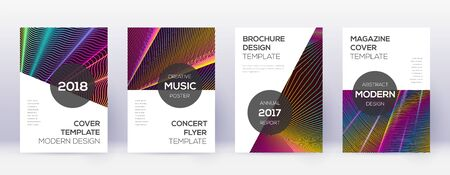 Modern brochure design template set. Rainbow abstract lines on wine red background. Beauteous brochure design. Fabulous catalog, poster, book template etc. Çizim