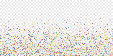 Festive confetti. Celebration stars. Rainbow confetti on transparent background. Dramatic festive overlay template. Ideal vector illustration. Çizim