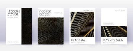 Minimal brochure design template set. Gold abstract lines on black background. Appealing brochure design. Captivating catalog, poster, book template etc.