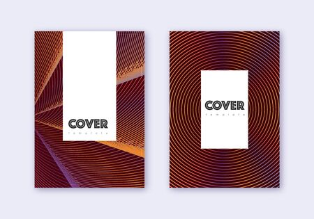 Hipster cover design template set. Orange abstract lines on wine red background. Classic cover design. Noteworthy catalog, poster, book template etc. Ilustração