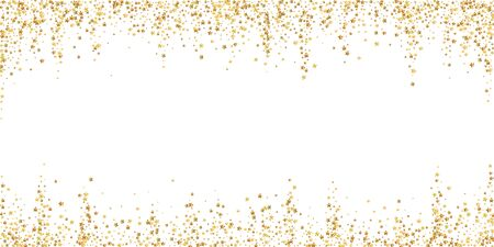 Gold stars luxury sparkling confetti. Scattered small gold particles on white background. Beautiful festive overlay template. Worthy vector illustration.