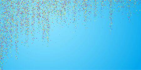 Festive confetti. Celebration stars. Colorful confetti on blue sky background. Delicate festive overlay template. Actual vector illustration.