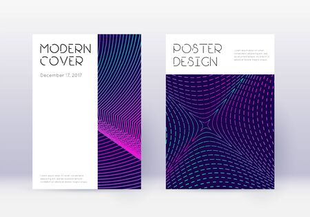 Minimal cover design template set. Neon abstract lines on dark blue background. Dazzling cover design. Artistic catalog, poster, book template etc. Ilustração