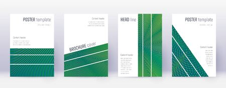 Geometric brochure design template set. Green abstract lines on dark background. Alluring brochure design. Appealing catalog, poster, book template etc.