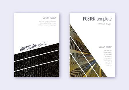 Geometric cover design template set. Gold abstract lines on black background. Bold cover design. Noteworthy catalog, poster, book template etc. Ilustração