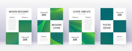 Business brochure design template set. Green abstract lines on dark background. Adorable brochure design. Exquisite catalog, poster, book template etc. Ilustração