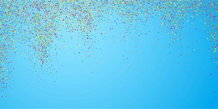 Festive confetti. Celebration stars. Childish bright stars on blue sky background. Delicate festive overlay template. Unequaled vector illustration.
