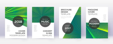 Modern brochure design template set. Green abstract lines on dark background. Awesome brochure design. Optimal catalog, poster, book template etc.