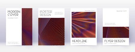 Minimal brochure design template set. Orange abstract lines on wine red background. Appealing brochure design. Surprising catalog, poster, book template etc. Vetores