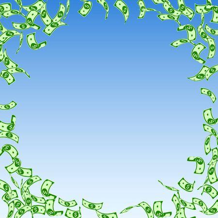 American dollar notes falling. Sparse USD bills on blue sky background. USA money. Comely vector illustration. Majestic jackpot, wealth or success concept. Ilustração