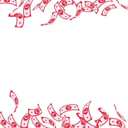 British pound notes falling. Floating GBP bills on white background. United Kingdom money. Attractive vector illustration. Creative jackpot, wealth or success concept.