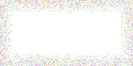 Festive confetti. Celebration stars. Colorful stars dense on white background. Delightful festive overlay template. Fair vector illustration.