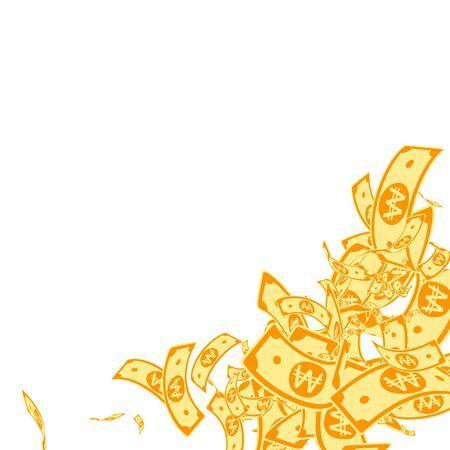 Korean won notes falling. Messy WON bills on white background. Korea money. Dazzling vector illustration. Delicate jackpot, wealth or success concept.