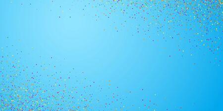 Festive confetti. Celebration stars. Childish bright stars on blue sky background. Creative festive overlay template. Glamorous vector illustration.