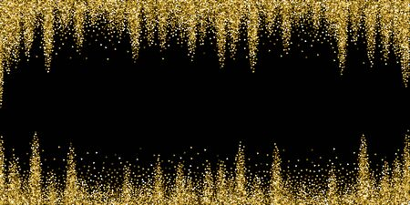 Gold triangles glitter luxury sparkling confetti. Scattered small gold particles on black background. Bewitching festive overlay template. Artistic vector illustration. 向量圖像