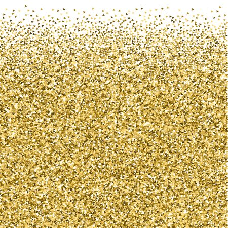 Gold triangles glitter luxury sparkling confetti. Scattered small gold particles on white background. Amusing festive overlay template. Artistic vector illustration. 向量圖像